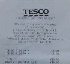 TDK 10PK BD-R Blank Bluray Disks scanning as £5 Tesco Instore Liverpool One
