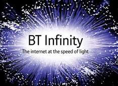Bt infinity Unlimited 38mb £15.50pm inc line rental 12 month contract + free chocolate