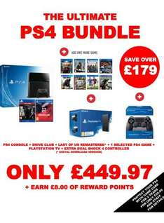 Playstation 4 Console With 3 Games, Sony TV & Extra Dualshock £449.97 @ GAME (£8 Reward Points)