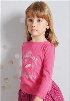 Dark Pink Girl's Long-Sleeved T-Shirt £2.25 @ Vertbaudet