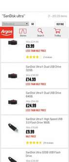 SanDisk duel usb @  argos starting from £9.99