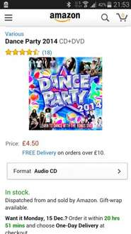 Dance Party 2014 cd and dvd £4.50 @ Amazon