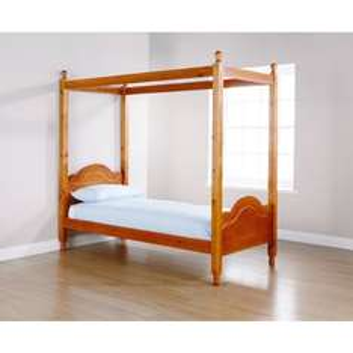 Solid Pine Four Poster Kids Single Bed Frame £59.99 @ bargain crazy
