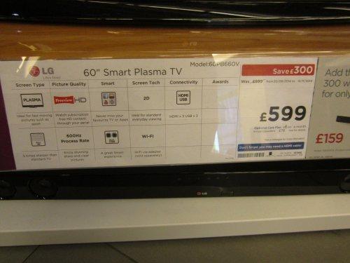 LG 60PB660V 60 inch Smart Plasma TV - SAVE £300! Price £599 @ Currys