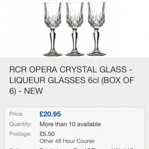 6 x RCR crystal rock wine glass £26.45 @ebay / roychina