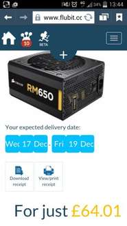 Corsair RM650 Gold Fully Modular PSU -  £71.79 free delivery @ Ebuyer