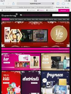 Up to half price on Christmas shop and free delivery when you spend £10.00 @ superdrug