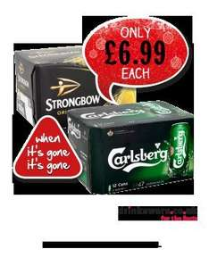 Carlsberg/Strongbow £6.99 for 12 cans @ KwikSave
