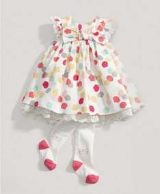Mamas & Papas Girls All Over Printed Dress with Tights Set from £30 to £9