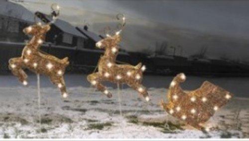 Set of 2 flying reindeer and sleigh in gold £21.99 @ 24studio.