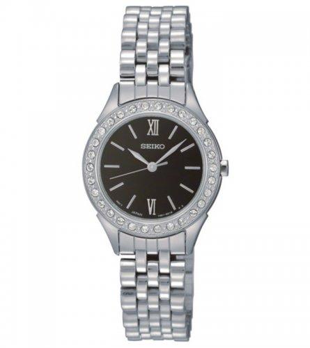 Seiko Ladies Black Dial Watch with Swarovski crystal £44.99 at bargain crazy