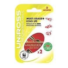 2 Uniross 2100 mAH AA rechargeable batteries + D MultiUsage Converter (use AA's as D batteries)  £0.99 @ Screwfix.com