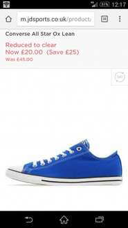 Converse All Star Ox LeanReduced to clear Now£20.00@ JD Sports