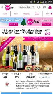 Wowcher offer for virgin wines- 12 bottles including 2 crystal flutes for £49.99 plus £7.99 postage. (£57.98)