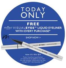 Free VisualEyes Liquid eyeliner (worth £15) with every purchase, today only @ Eyeko