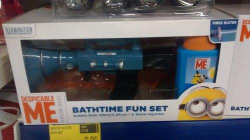£3.99 minion water gun bath set, despicable me at b&m
