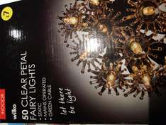 50 clear petal fairy christmas lights half price @ wilko (in store Southend) was £7 now £3.50