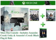 Xbox One 500GB (Brand New) + Assassins Creed: Unity + Assassin's Creed: Black Flag + HALO (The Master Chief Collection) - £349.99 via eBay with FREE Click & Collect @ Argos or FREE Delivery --- HURRY LAST ONE LEFT ----- GOOD PRICE