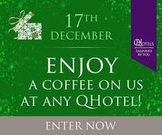 Claim a free coffee today (Wed 17/12) at bar in 21 x QHotels across UK