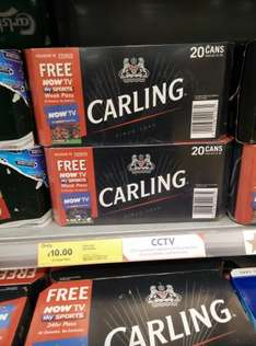 20 cans of carling for £10 with free sky sports week pass,  in store @ Tesco