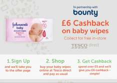 £6 TCB on £5 spend on Johnsons Baby Wipes
