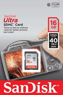 SanDisk Ultra SDHC 16 GB Class 10 Memory Card 40 MB/s - £6.50 Instore @ Tesco