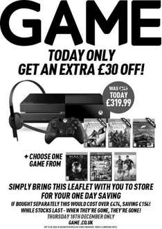 One Day Only: Xbox One With AC:Black Flag & Unity, Forza 5 And Either HALO, FIFA 15 or GTAV £319.99 (Voucher To Be Printed Out/Instore)