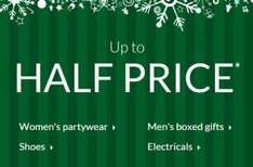 DEBENHAMS Up to HALF PRICE Partywear, Shoes & Boots, Electricals, Dinnerware - Spend £50 for free delivery