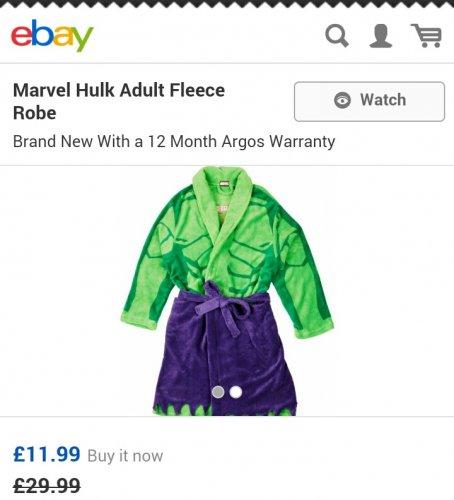 Adult's Hulk Fleece Robe £11.99 delivered @ Argos ebay outlet