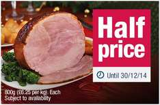 Gammon joints 1.8kg half price at Co-op (£6.25 / kg)