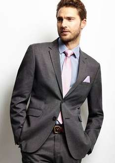 Grey Textured Suit Jacket was £69 now £10 @ BHS