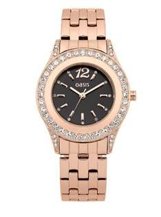 Oasis Rose Gold Tone Black Face Crystal Set Ladies Watch was £50 now £18 @ Very