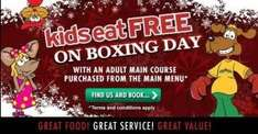 Kids eat free with a paying adult on  Boxing Day @ Frankie  & Bennys