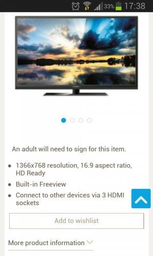 32 inch LED 720p TV -5 years Warranty -£139 Tesco Direct