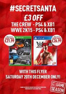 The crew ps4 Xbox one @ game £21.99 Saturday only. (WWE 15 £26.99)