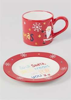 Cookies for Santa hand painted plate and mug. Was £8.00 Now £4.00 at Matalan