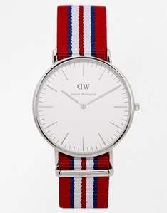 Daniel Wellington Exeter Silver Striped Canvas Strap Watch £89 @ ASOS