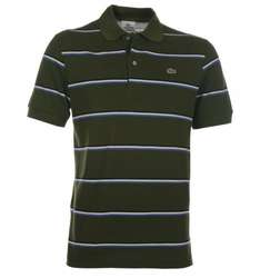 "Brown Bag clothing LACOSTE DARK GREEN STRIPE PIQUE POLO SHIRT (36/38"" CHEST) only £35"