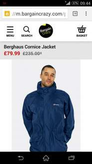 berghaus cornice gortex jacket  £55.99 delivered with code @ bargain crazy