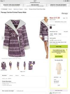 House of Fraser -Therapy Fairisle Printed Fleece Robe reduced to  £17.50 from £35