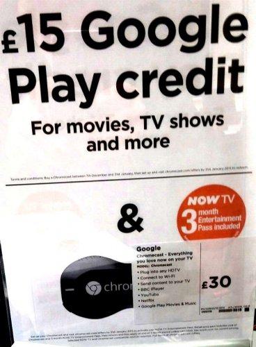 Google Chromecast, plus 3 Months NowTV Sky Entertainment Pass, plus £15 of Google Play Credit, Bundled for £30 @ Currys/PCWorld