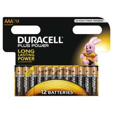 Duracell MN2400 Plus Power Alkaline AAA Size Batteries (Pack of 12), £4.27 Delivered @ Amazon, Choose Sub & Save Option