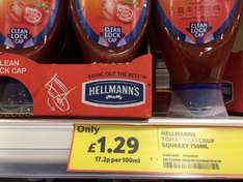 Hellmans 750mg ketchup in tesco £1.29