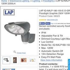 LAP IQ-NALP-180-150-E-D-GR PIR Hi-Lo Floodlight Graphite 230V 120W 2250Lm £4.00 @ Screwfix Free click and collect