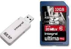 Integral Class 10 32GB SDHC Memory Card With USB Reader at Argos on Ebay £9.99 + Free P&P