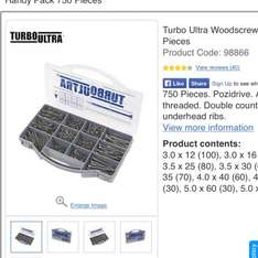 Turbo Ultra Woodscrews Handy Pack 750 Pieces £3 @ Screwfix. Free click & collect