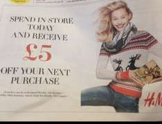 Spend in store and get  Free £5 from H&M