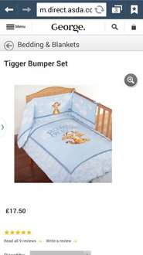 tigger cot bumper & quilt £17.50 @ Asda instore