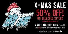 50% off selected lines and free shipping when spending £80 @ Macbeth