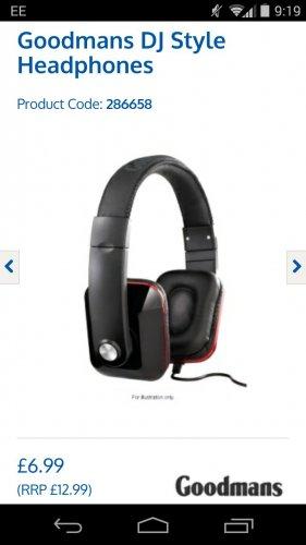 Goodmans DJ Style Headphones £6.99 @ B&M